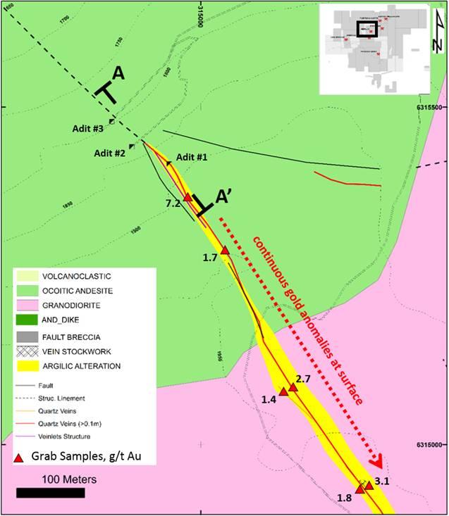 Figure 1: Location map of Mina Caren within the Altos de Lipangue project.